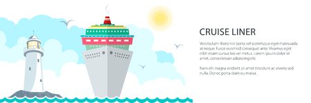 Sea Voyage Banner ,Marine Tourism, Cruise Ship and Lighthouse at the Ocean and Text ,Travel Concept, Vector Illustration