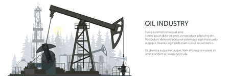 Ölindustrie-Banner, Silhouette Pumpjack auf einem Waldhintergrund und -text, oberirdischer Antrieb für eine Kolbenkolbenpumpe in einer Ölquelle, Vektorillustration