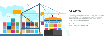Unloading Containers from a Cargo Ship at the Seaport with Cargo Crane, International Freight Transportation Banner, Vector Illustration Illustration