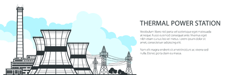 Thermal Power Station Banner , Nuclear Plant and Text, Nuclear Reactor and Power Lines, Vector Illustration