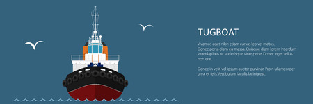 Front View of the Vessel Tugboat and Text, Push Boat Banner, Tow Boat for to Towage and Mooring of Other Courts , Vector Illustration Illustration