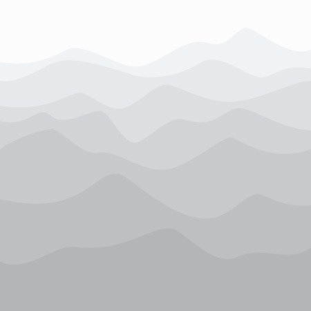 Silhouette of Mountains at Sunrise , Early Morning Mountain View, Peaks and Ridges in Shades of Gray, Waves, Travel and Tourism Concept, Vector Illustration