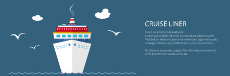 Cruise Ship at Sea and Text, Front View of the Liner , Travel Banner, Vector Illustration Ilustrace
