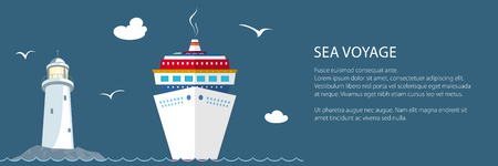Sea Voyage ,Marine Tourism, Cruise Ship and Lighthouse at the Ocean and Text ,Travel Banner, Vector Illustration