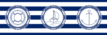 Banner with Sea Emblems on Seamless Striped Marine Background, Anchor and Sailboat and Lifebuoy , Vector Illustration