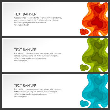 Set of Modern Abstract Banners, Colorful Gradient Fluid Shapes, Vector Illustration