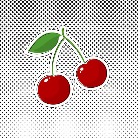 Red Cherry Sticker on White Background with Black Dots, Halftone Background, Pins or Patches, Retro Style, Gradient from the Top Down, Vector Illustration