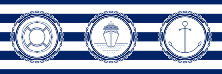Banner with Sea Emblems on Seamless Striped Marine Background, Anchor and Cruise Ship and Lifebuoy , Vector Illustration