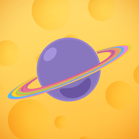 Planet Saturn on the Background of the Lunar Surface, Yellow Moon with Craters , Vector Illustration Illustration