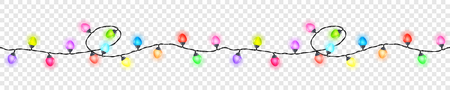 Seamless festive colored glowing garland without background , Christmas decorations