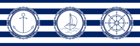Banner with Sea Emblems on Seamless Striped Marine Background, Anchor and Sailboat and Ships Wheel , Vector Illustration
