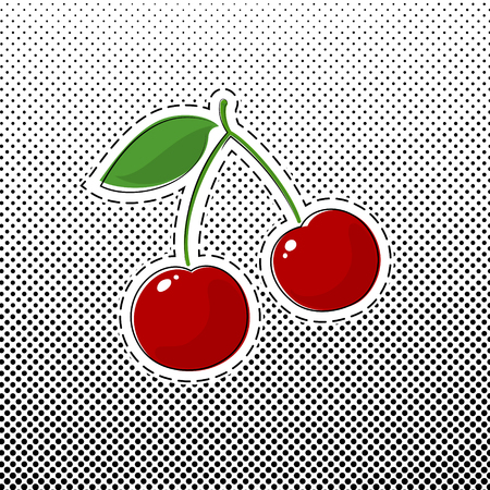 Red Cherry Sticker on White Background with Black Dots, Pop Art Halftone Background, Gradient Down Up, Pins or Patches, Retro Style, Vector Illustration