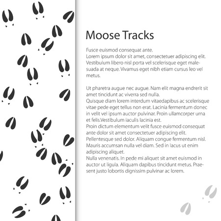 Cover Design with Traces of Forest Animal,Trace of a Moose Animal , Vector Illustration