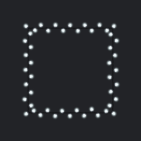 Square festive glowing garland, white light bulbs on dark background , Merry Christmas, Holiday decorations, Vector illustration Stock Illustratie