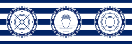 Banner with Sea Emblems on Seamless Striped Marine Background, Ship's Wheel and Cruise Ship and Lifebuoy , Vector Illustration Illustration