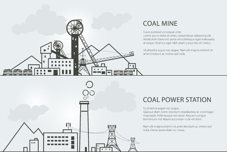 Set of Horizontal Banners with Coal Mining and Power Station, Complex Industrial Facilities with Spoil Tip and with Rail Cars , Power Line and Mine, Coal and Energy Industry, Vector Illustration