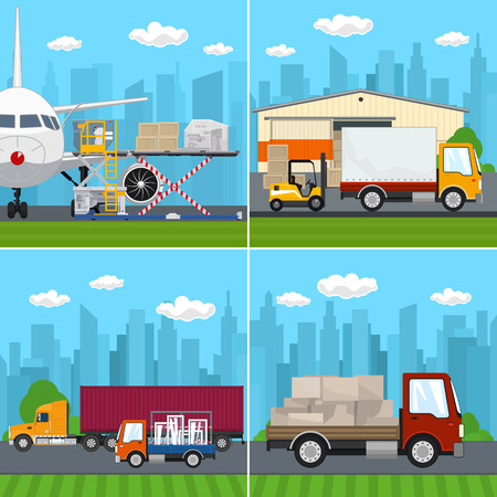 Set of Transportation and Air Cargo Services, Unloading or Loading of Goods into the Airplane, Warehouse with Forklift Truck and Lorry ,Trucks on the Road, Logistics, Vector Illustration Vektoros illusztráció