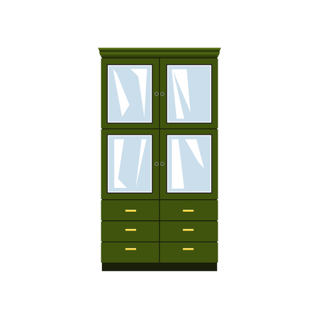 Green closet with glass doors and drawers isolated on white background, for clothes or dishes, vector illustration