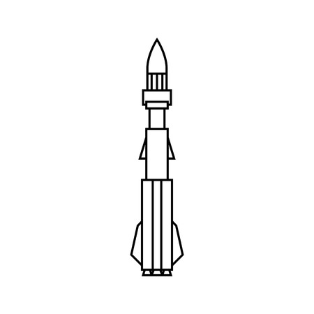 Military Rocket , Ammunition Isolated on White Background, Silhouette Offensive Missile Carrying Warhead, Black and White Vector Illustration Çizim