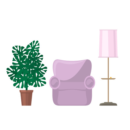 Pink soft cozy armchair and floor lamp with pink lamp shade and monstera houseplant, furniture for the living room isolated on white background, vector illustration
