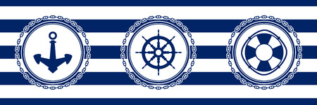 Banner with Sea Emblems on Seamless Striped Marine Background, Anchor and Ships Wheel and Lifebuoy , Vector Illustration Ilustrace