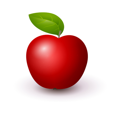Red Apple Isolated on White Background , Vector Illustration