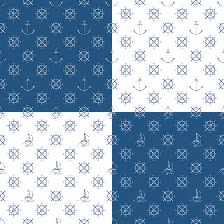 Set of Seamless Travel Patterns with Yacht , Anchor and Ship's Wheel, Maritime Tourism Concept , Line Style Design, Vector Illustration