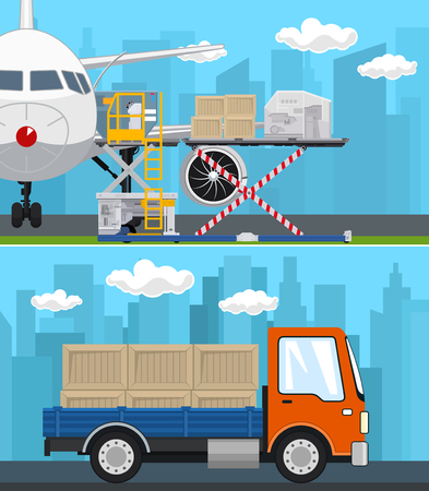 Set of Transportation and Air Cargo Services, Airplane with Autoloader at the Airport , Truck with Boxes on the Background of the City, Shipping and Freight of Goods, Vector Illustration Vektoros illusztráció