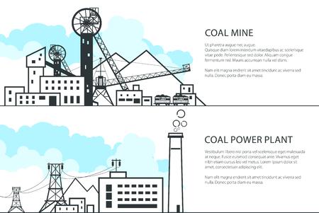 Satz horizontaler Banner mit Bergbau- und Kohlekraftwerk, komplexe Industrieanlagen mit Spoil Tip und Stromleitung und Mine, Kohle- und Energieindustrie, Vektorillustration Vektorgrafik