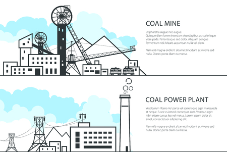 Set of Horizontal Banners with Mining and Coal Power Station, Complex Industrial Facilities with Spoil Tip and Power Line and Mine, Coal and Energy Industry, Vector Illustration Illustration