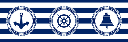 Banner with Sea Emblems on Seamless Striped Marine Background, Anchor and Ship's Wheel and Ship Bell , Vector Illustration
