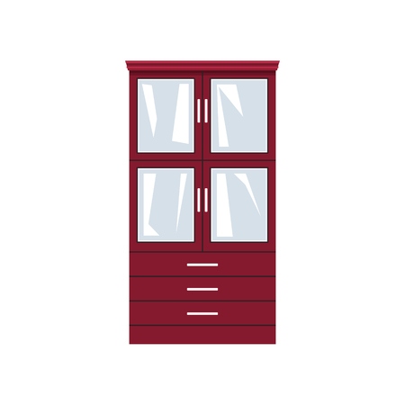 Red closet with glass doors and drawers isolated on white background, for clothes or dishes, vector illustration