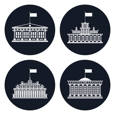 Set of black icons with buildings with a flag on the roof, school house and bank or court, government building or hotel, financial institution, vector illustration