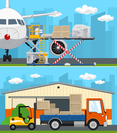 Set of Air Cargo and Storage Services, Airplane with Autoloader at the Airport , Warehouse, Forklift Loads or Unloads Boxes from a Truck, Shipping and Freight of Goods, Vector Illustration