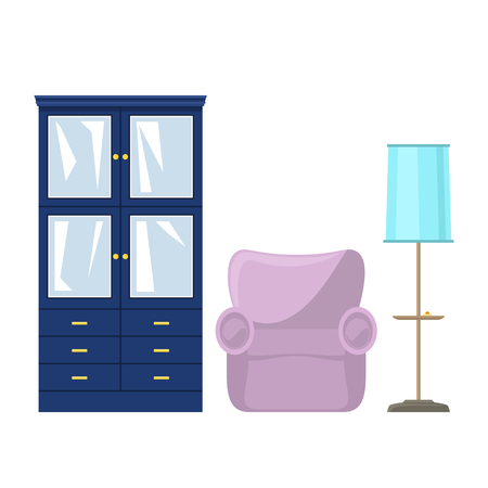 Blue closet with glass doors and drawers for clothes or dishes, pink soft armchair and floor lamp with blue lamp shade , vector illustration Ilustrace