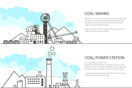 Set of Horizontal Banners with Mining and Coal Power Station, Complex Industrial Facilities with Spoil Tip and Mine, High Voltage Power Lines Supplies Electricity to the City, Vector Illustration Illustration