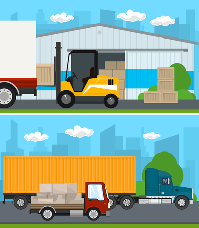 Set of Transportation and Storage Services, Warehouse and Forklift Truck ,Truck and Small Cargo Van with Boxes Drive on the Road , Shipping and Freight of Goods, Vector Illustration