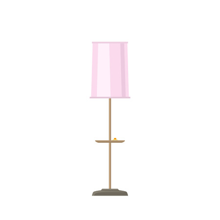 Floor lamp with pink lamp shade isolated on white background, vector illustration