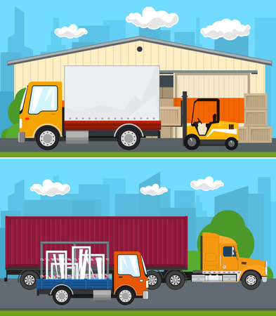 Set of Transportation and Storage Services, Warehouse and Forklift Truck ,Truck and Small Lorry with Windows Drive on the Road , Shipping and Freight of Goods, Vector Illustration Ilustrace