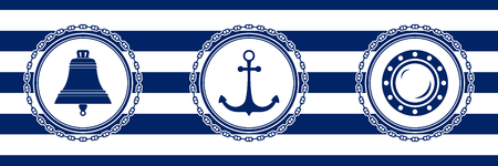 Banner with Sea Emblems on Seamless Striped Marine Background, Ship Bell and Anchor and Porthole , Vector Illustration Ilustrace