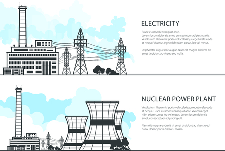 Set of Banners with Electric Transmission, Thermal Power Station and High Voltage Power Lines Supplies Electricity to City, Vector Illustration Ilustrace