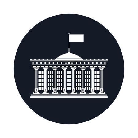 Silhouette Bank House with a Flag on the Roof Isolated on Black, Icon with Court, Government Building, Financial Institution, Vector Illustration