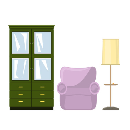 Green closet with glass doors and drawers for clothes or dishes, pink soft armchair and floor lamp with yellow lamp shade , vector illustration