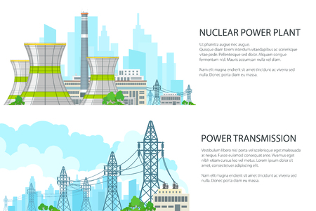 Set of White Banners with Electric Transmission, Thermal Power Station and High Voltage Power Lines Supplies Electricity to City, Vector Illustration Illustration