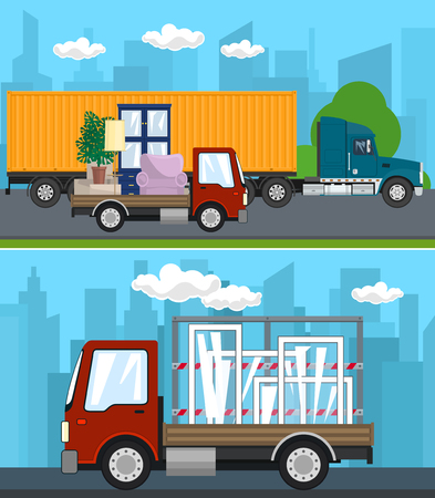 Set of Transportation Services and Logistics, Truck and Small Cargo Van with Furniture Drive on the Road, Lorry with Windows , Shipping and Freight of Goods, Vector Illustration