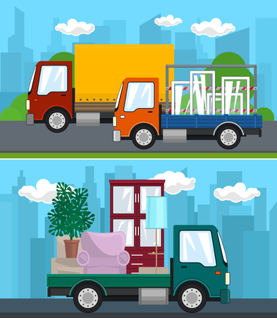 Set of Transportation Services and Logistics, Covered Truck and Small Cargo Van with Windows Drive on the Road, Lorry with Furniture , Shipping and Freight of Goods, Vector Illustration