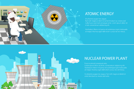 Set of Banners with Power Plant, People near the Control Panel on a Thermal Station, Radiation Sign, Nuclear Reactor and Power Lines on the Background of the City, Vector Illustration Reklamní fotografie - 124356909