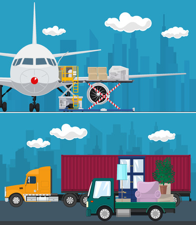 Set of Air Cargo and Transport Services, Airplane with Autoloader at the Airport , Truck and Small Cargo Van with Furniture Drive on the Road , Shipping and Freight of Goods, Vector Illustration Ilustrace