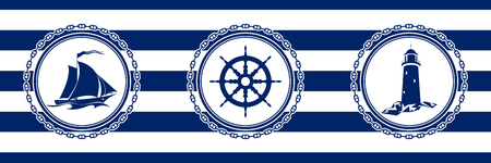 Banner with Sea Emblems on Seamless Striped Marine Background, Sailing Vessel and Ships Wheel and Lighthouse , Vector Illustration