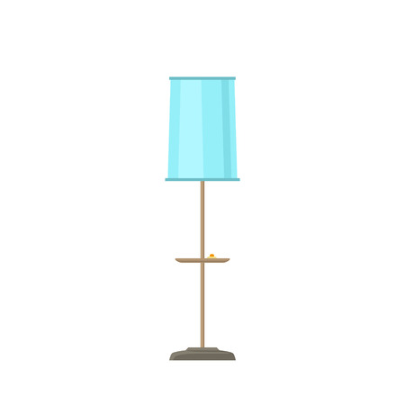 Blue lamp with pink lamp shade isolated on white background, vector illustration Ilustrace